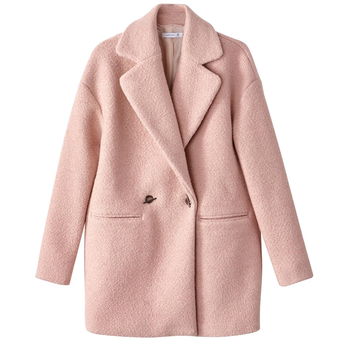 Полупальто 20% шерстиПальто женское из шерсти букле для зимних холодов. Стильное пальто с симпатичным пиджачным воротником и двойной застежкой на крючки. 2 кармана.Детали •  Длина : средняя •  Шалевый воротник • Застежка на пуговицыСостав и уход •  20% шерсти, 10% других волокон, 70% полиэстера •  Подкладка : 100% полиэстер • Не стирать  •  Любые растворители / не отбеливать   •  Не использовать барабанную сушку  •  Не гладить •  Длина : 83 см<br><br>Цвет: бледно-розовый,небесно-голубой<br>Размер: 46 (FR) - 52 (RUS).44 (FR) - 50 (RUS).40 (FR) - 46 (RUS).38 (FR) - 44 (RUS).42 (FR) - 48 (RUS)