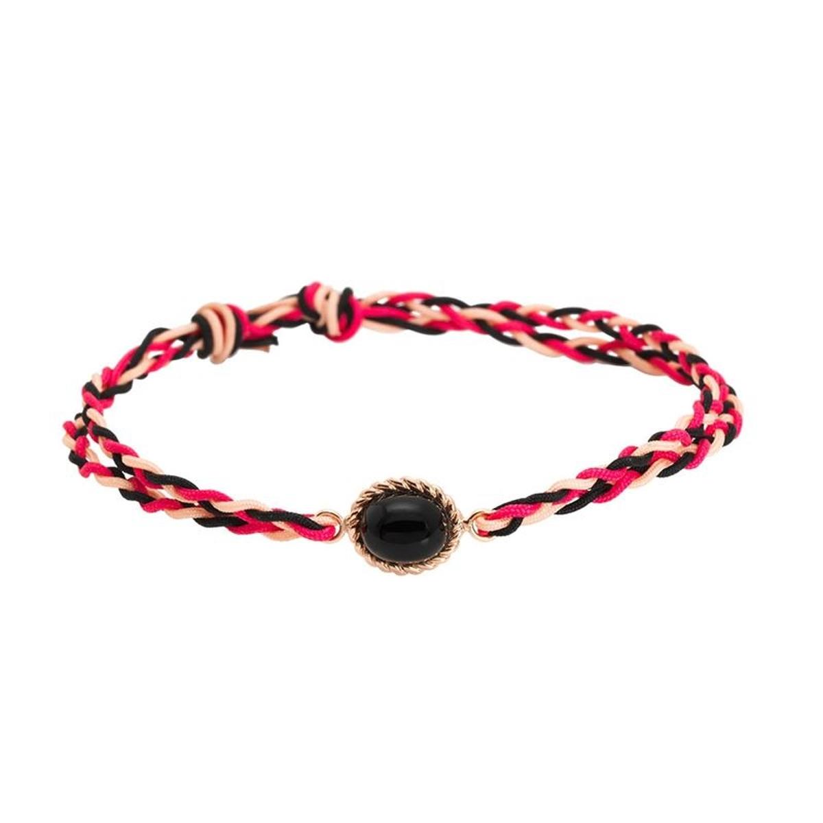 Bracelet Cordon Berlingot Mini Or Rose Onyx