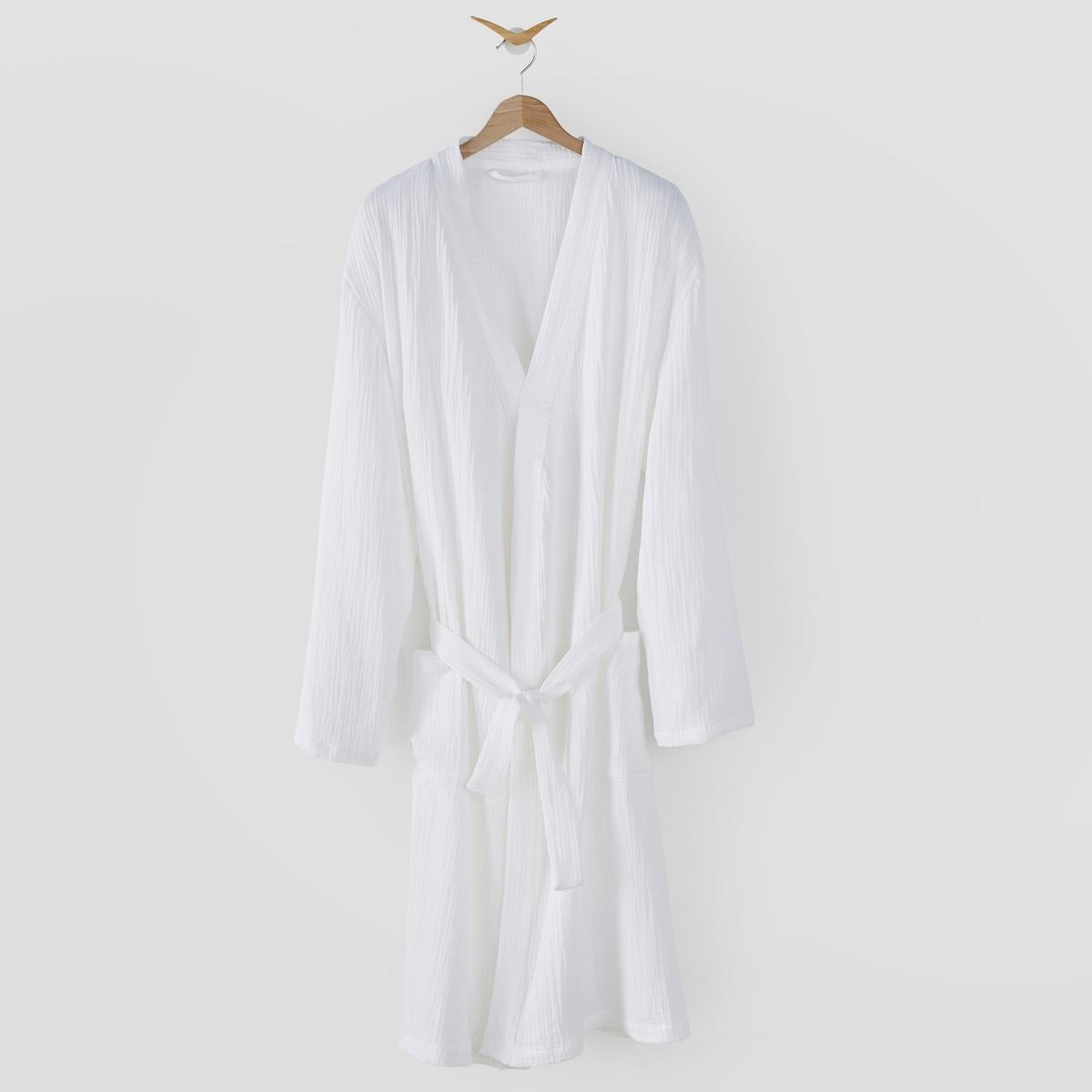 Халат-кимоно La Redoute Из хлопчатобумажной газовой ткани Kumla 46/48 (FR) - 52/54 (RUS) белый