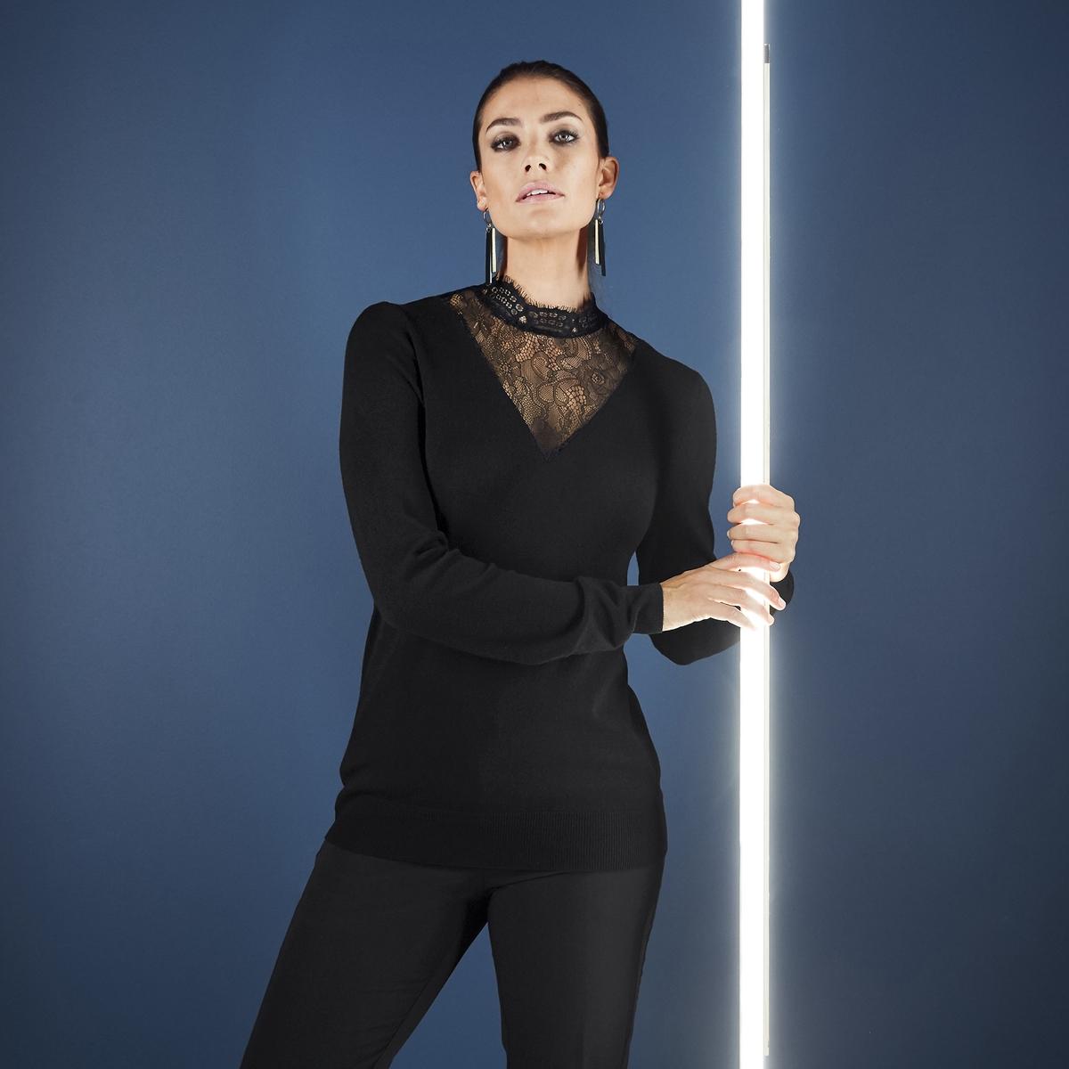 Imagen principal de producto de Jersey de punto fino con cuello alto de encaje - Anne weyburn
