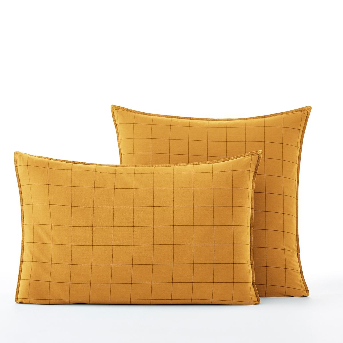 Наволочка La Redoute Из биохлопка Ponlok 50 x 70 см желтый наволочка la redoute из хлопкаton marilou 50 x 70 см синий