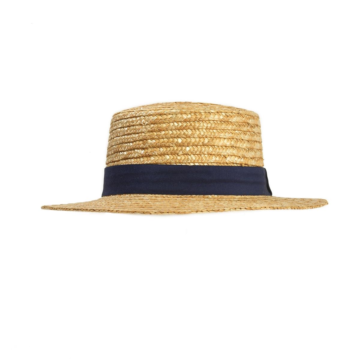 Шляпа соломеннаяСоломенная шляпа на шнурке,Mademoiselle R.Прекрасная соломенная шляпа, украшенная галуном-: лето будет стильным!! Состав и описание :Материал : 100% соломыМарка : Mademoiselle R.Размеры : Окружность головы 56 см Галун с узелком .<br><br>Цвет: серо-бежевый