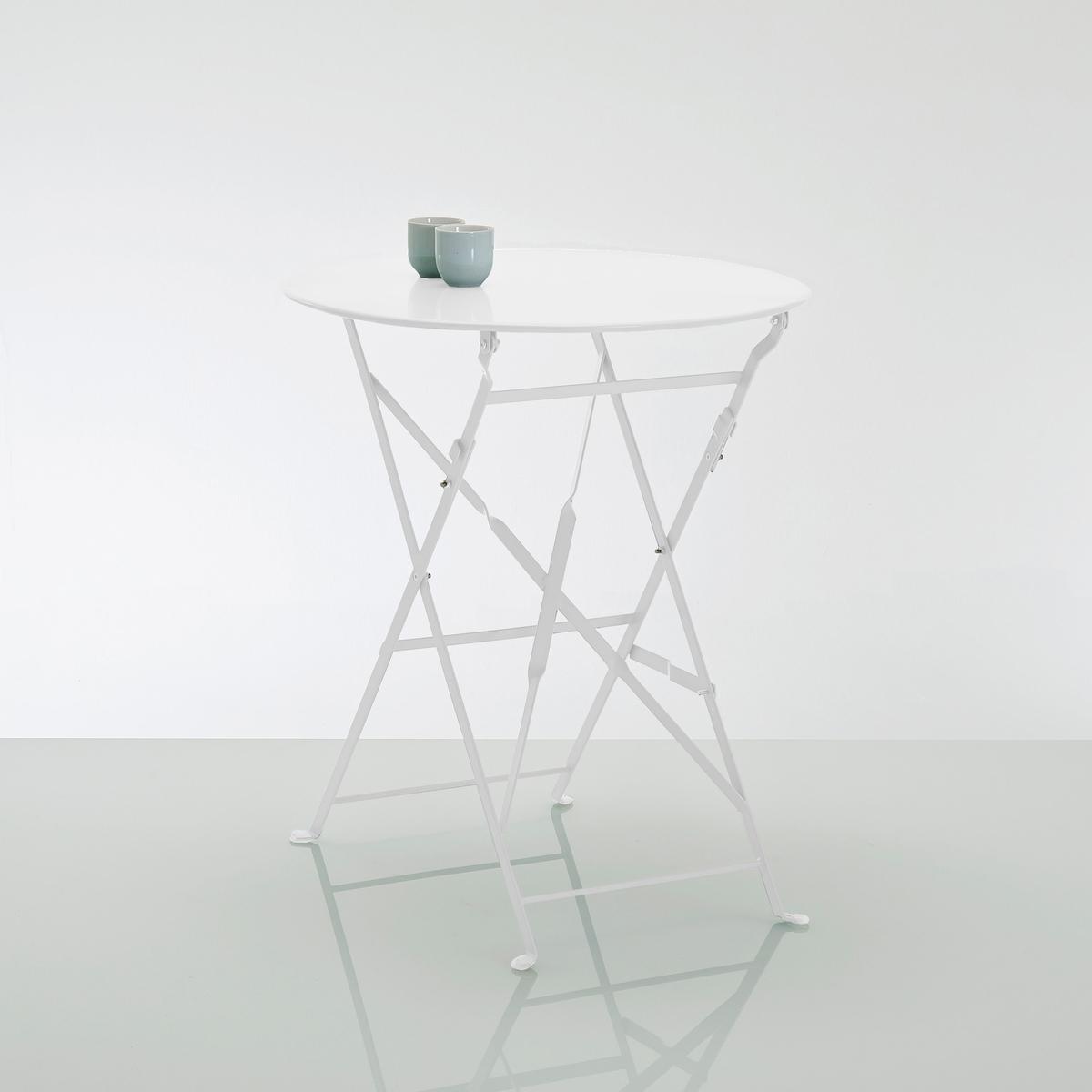 Столик складной металлическийИдеален для небольших помещений, дома или в саду, небольшой металлический столик легко складывается и собирается.Характеристики : - Из металла с цветным лаковым покрытием. -Покрытие: эпоксидная эмаль..  Поставляется в собранном виде.  Размеры : - Общие : ? 60 x В70 см. - В собранном виде : толщина 5 см.  Идея для декора : для ужина тет-а-тет на балконе или внутри помещения в качестве вспомогательного столика : эта яркая модель собирается без усилий !  *Металл с антикоррозийной обработкой и покрытием эпоксидной эмалью делает этот столик  удобным  в использовании и устойчивым к ржавчине и неблагоприятным погодным условиям. Легкий, просто перемещать и хранить.<br><br>Цвет: белый,бирюзовый,серый<br>Размер: единый размер.единый размер