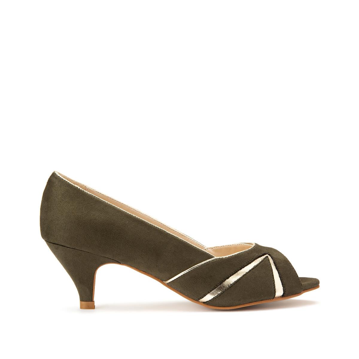 Туфли LaRedoute На каблуке-шпильке для широкой стопы размеры 38-45 45 зеленый балетки laredoute на плоском каблуке для широкой стопы 38 45 43 бежевый