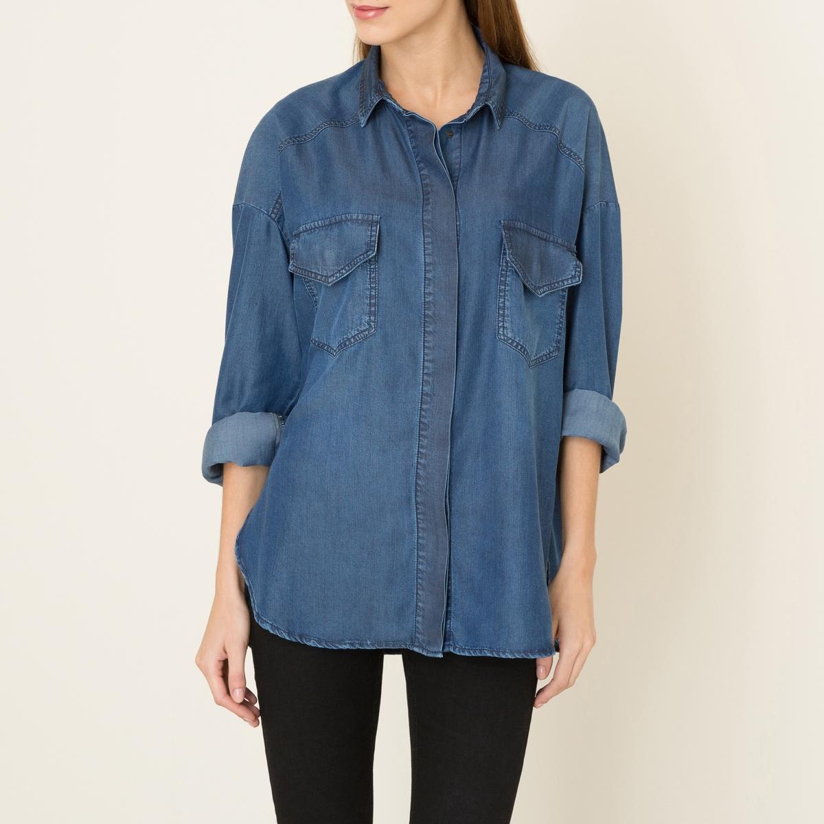 Рубашка из тенселаСостав и описание :Материал : Струящийся тенсел,  100% лиоцеллМарка : THE KOOPLES SPORT<br><br>Цвет: синий<br>Размер: XS