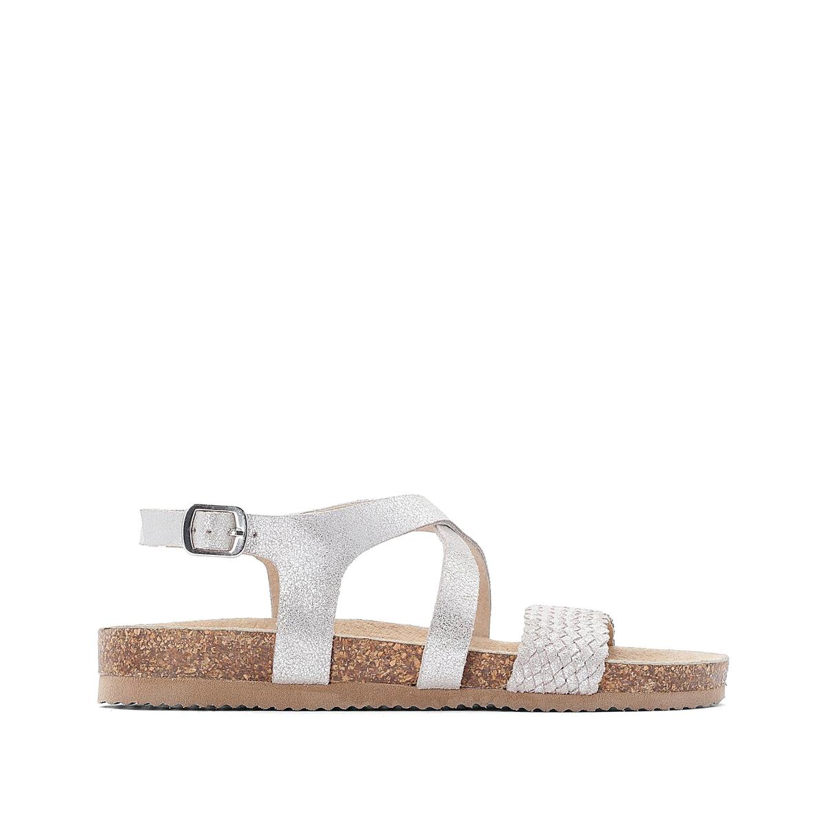 цена на Босоножки La Redoute Кожаные на плоском каблуке 36 серебристый