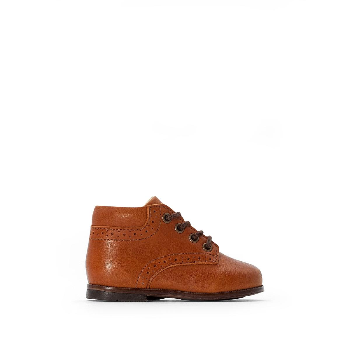 Ботинки La Redoute Кожаные на шнуровке - 23 каштановый ботильоны la redoute кожаные на молнии размеры 26 каштановый