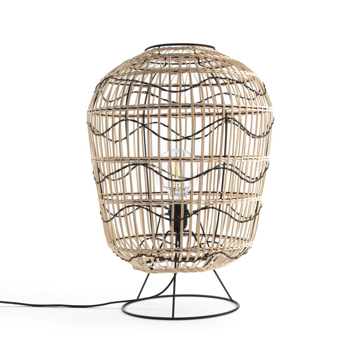 Лампа La Redoute Настольная из металла и ротанга Martaban единый размер бежевый хорошее зрение настольная лампа для обучения защищать глаза