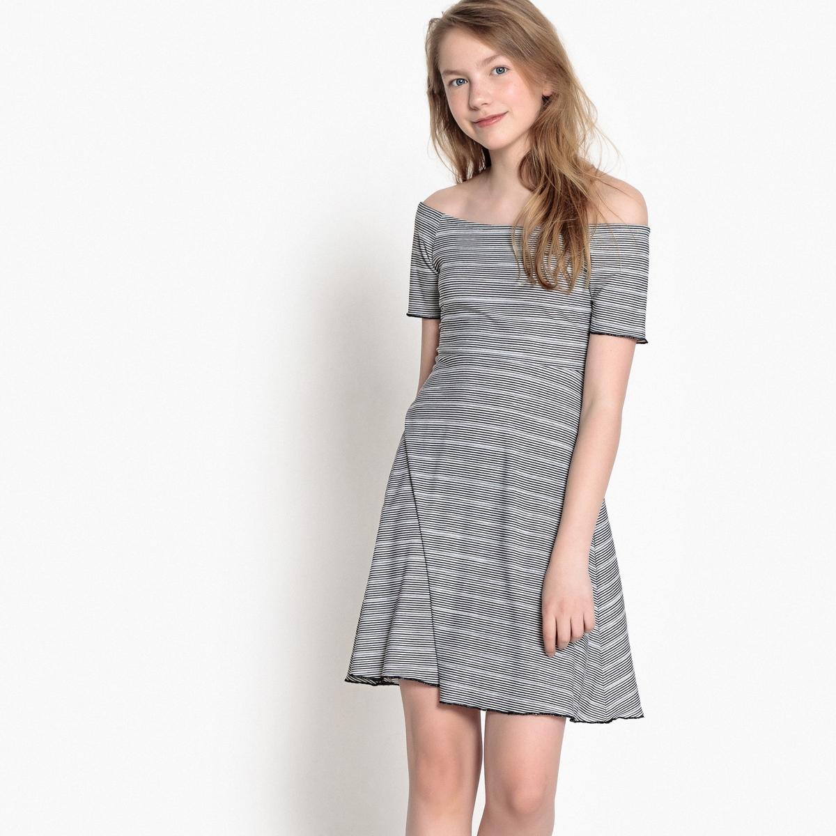 Платье в полоску с короткими рукавами, 10-16 лет