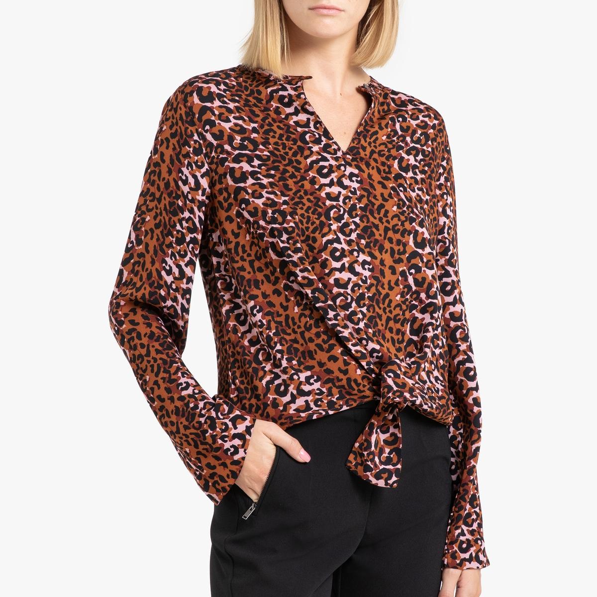 цена Блузка La Redoute С рисунком V-образным вырезом и длинными рукавами XS каштановый онлайн в 2017 году