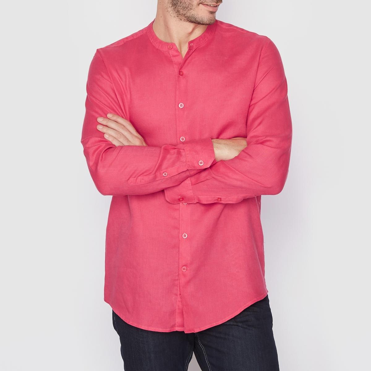 Рубашка прямого покроя с длинными рукавами, 100% лен<br><br>Цвет: малиновый<br>Размер: 39/40