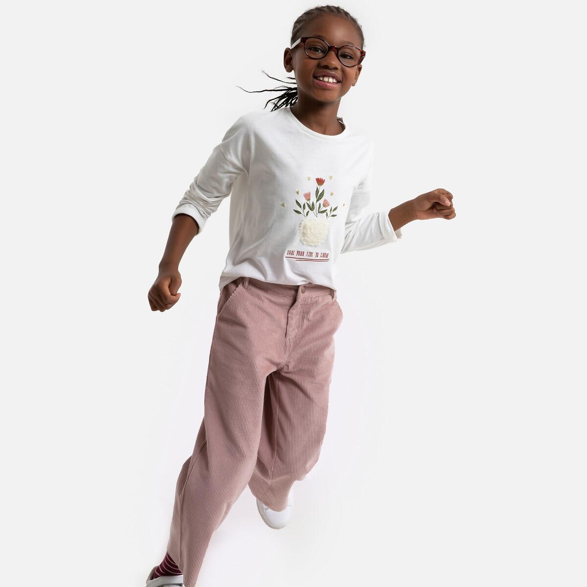 Брюки LaRedoute Широкие из велюра 3-12 лет 8 лет - 126 см розовый платье la redoute расклешенное на тонких бретелях с рисунком 3 12 лет 8 лет 126 см розовый