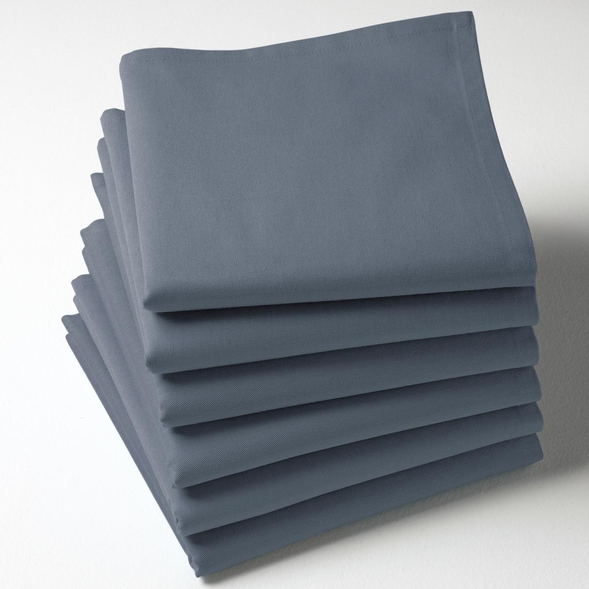 6 салфетокКачество Valeur S?re. Однотонные салфетки из саржи, 100% хлопка. 45 х 45 см. Мягкий и прочный материал. Легко гладить. Стирка при 40°.<br><br>Цвет: бледный сине-зеленый,бордовый,красный,серо-бежевый,серо-коричневый каштан,Серо-синий,серый,синий прусский,сливовый,терракота<br>Размер: 45 x 45  см.45 x 45  см.45 x 45  см.45 x 45  см