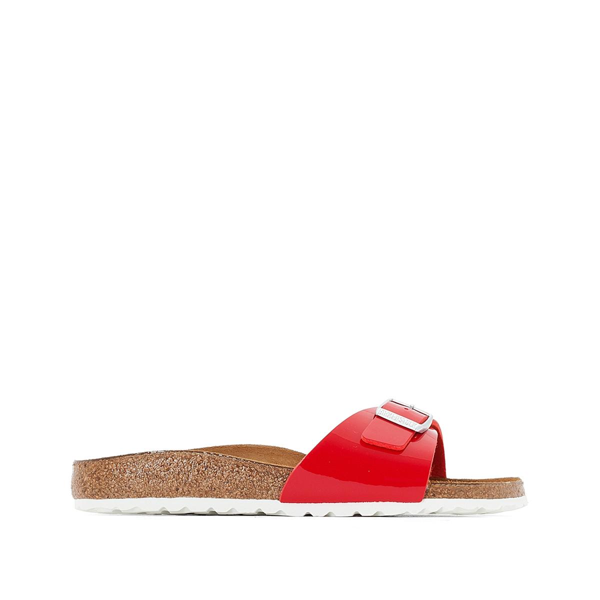 Туфли без задника синтетическиеОписание:Детали   •  Вьетнамки •  Застежка : без застежки •  Открытый мысокСостав и уход   •  Верх 100% синтетический материал •  Подкладка 100% текстиль •  Стелька 100% кожа •  Подошва 100% ЭВА<br><br>Цвет: красный лак<br>Размер: 37