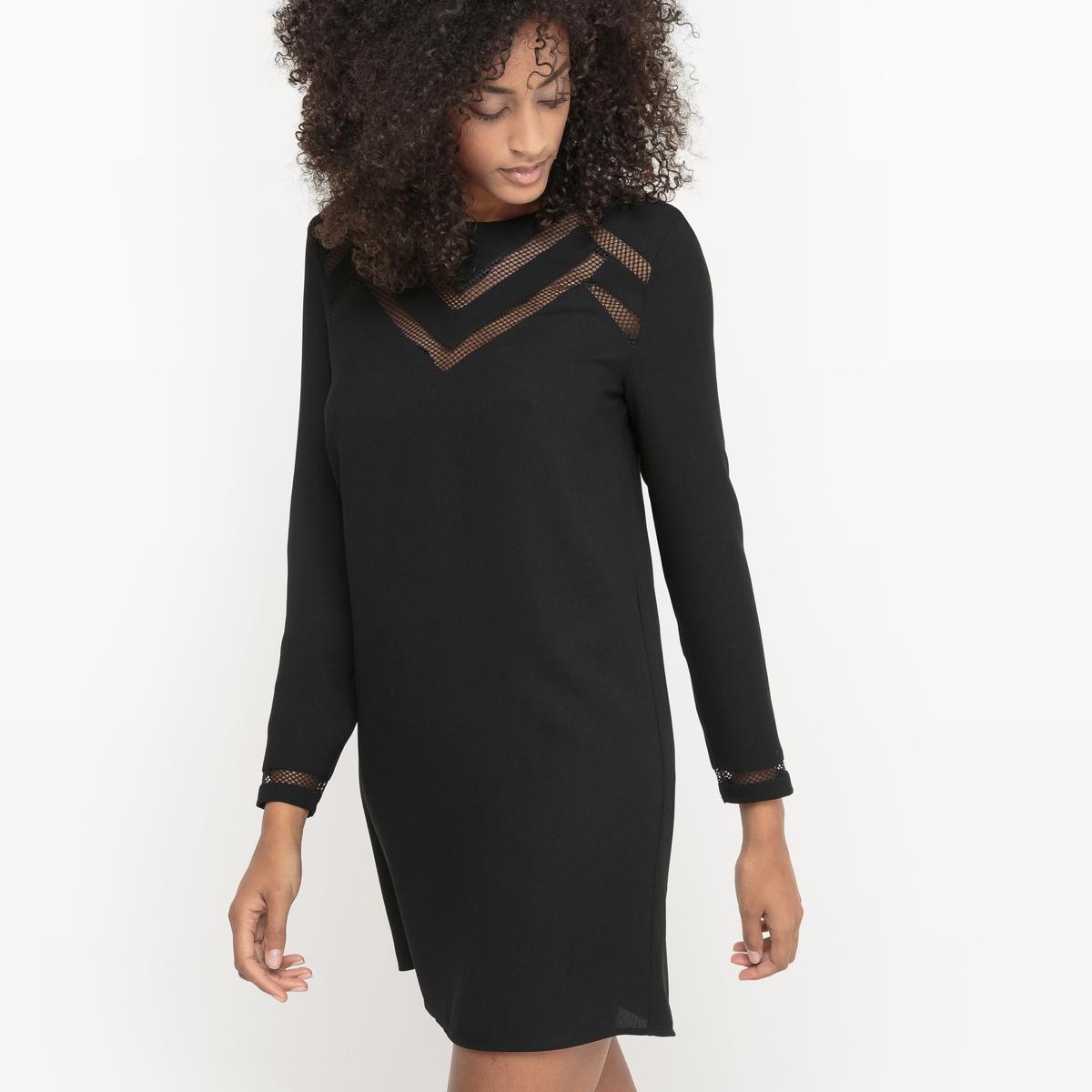 Платье с геометрическими вырезами.Состав и описаниеМатериалы : 100% полиэстерМарка : Sud ExpressМодель : RolontaireУходСледуйте рекомендациям по уходу, указанным на этикетке изделия.<br><br>Цвет: черный<br>Размер: M