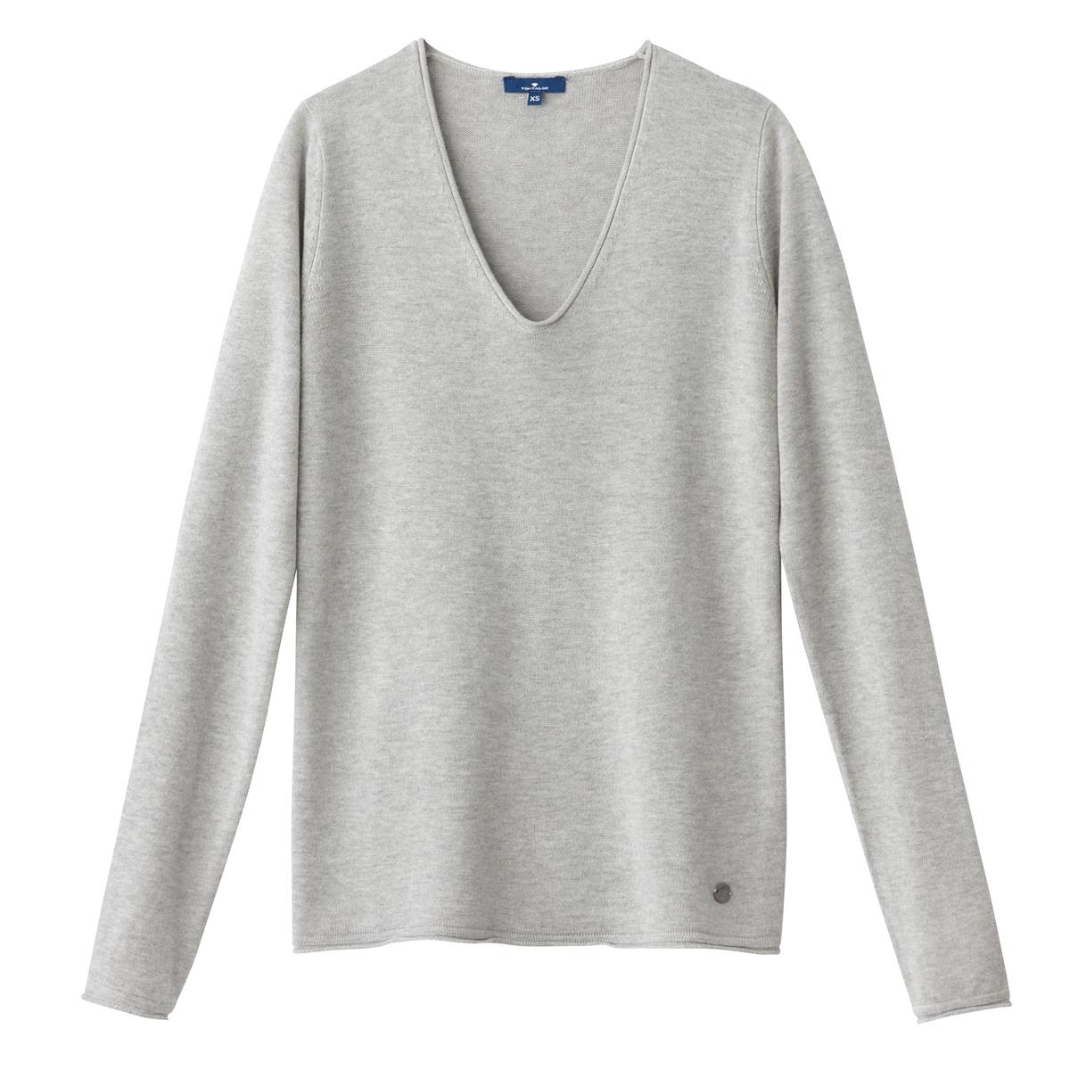 Пуловер с V-образным вырезом из тонкого трикотажаОписание:Детали •  Длинные рукава •   V-образный вырез •  Тонкий трикотаж Состав и уход •  40% вискозы, 60% хлопка •  Следуйте советам по уходу, указанным на этикетке<br><br>Цвет: светло-серый<br>Размер: L