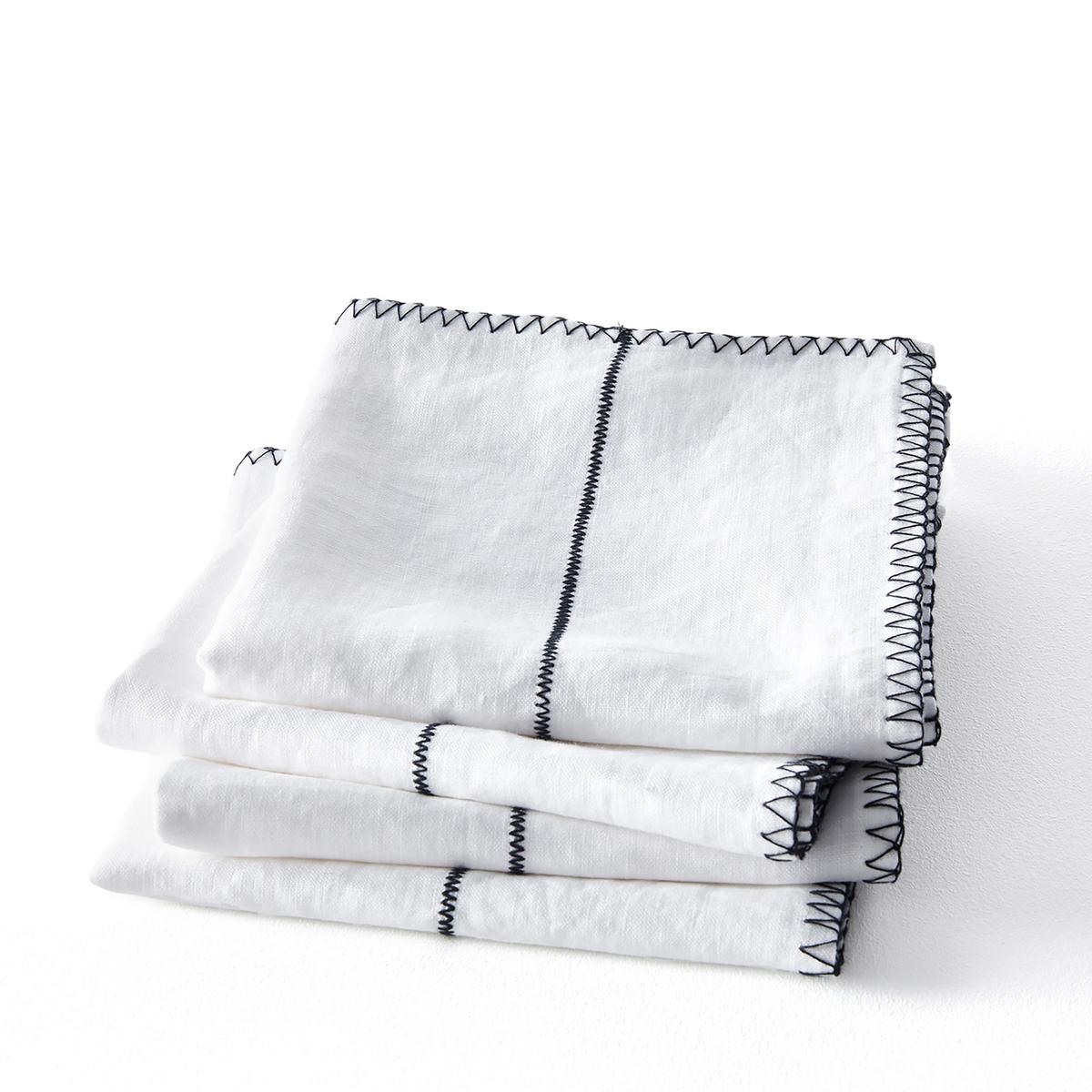 Комплект из 4 салфеток из LaRedoute Льна Tojos 40 x 40 см белый