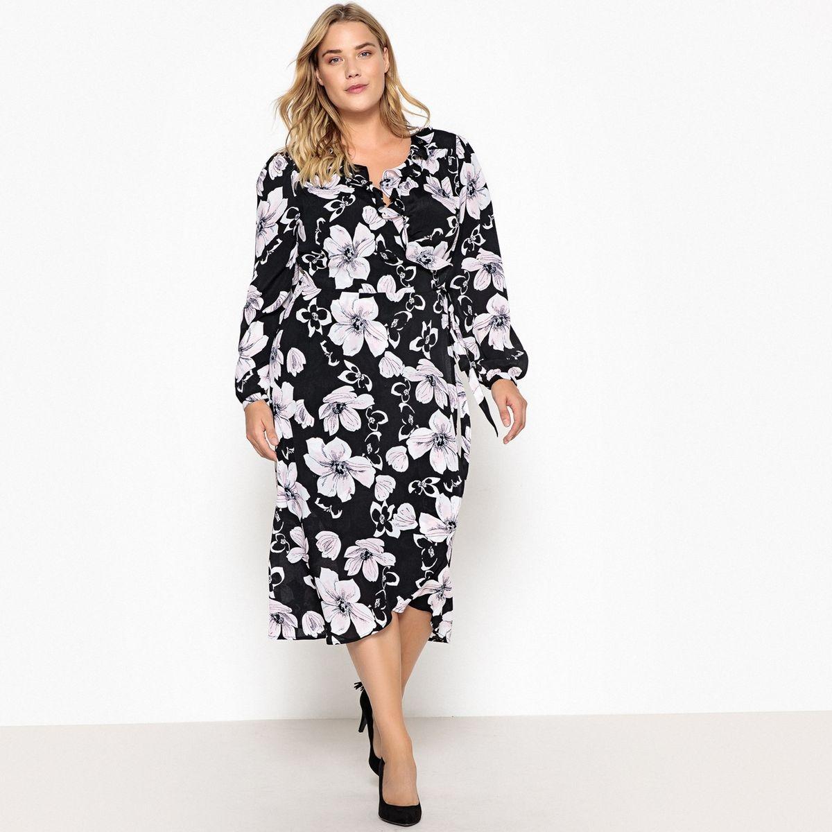 Robe portefeuille longue, imprimé fleurs