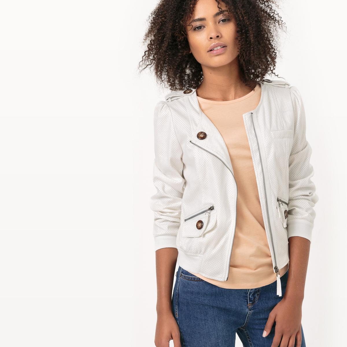 Куртка на молнииДетали  •  Длина:укороченная   •  Без воротника  •  Застежка на молнию Состав и уход   •  5% вискозы, 95% полиэстера   •  Просьба следовать советам по уходу, указанным на этикетке изделия<br><br>Цвет: белый,сине-серый<br>Размер: XL.L