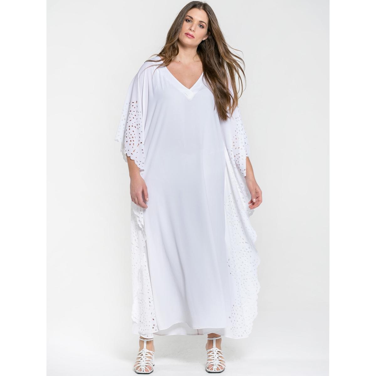купить Платье длинное расклешенное однотонное с короткими рукавами и V-образным вырезом по цене 12249 рублей