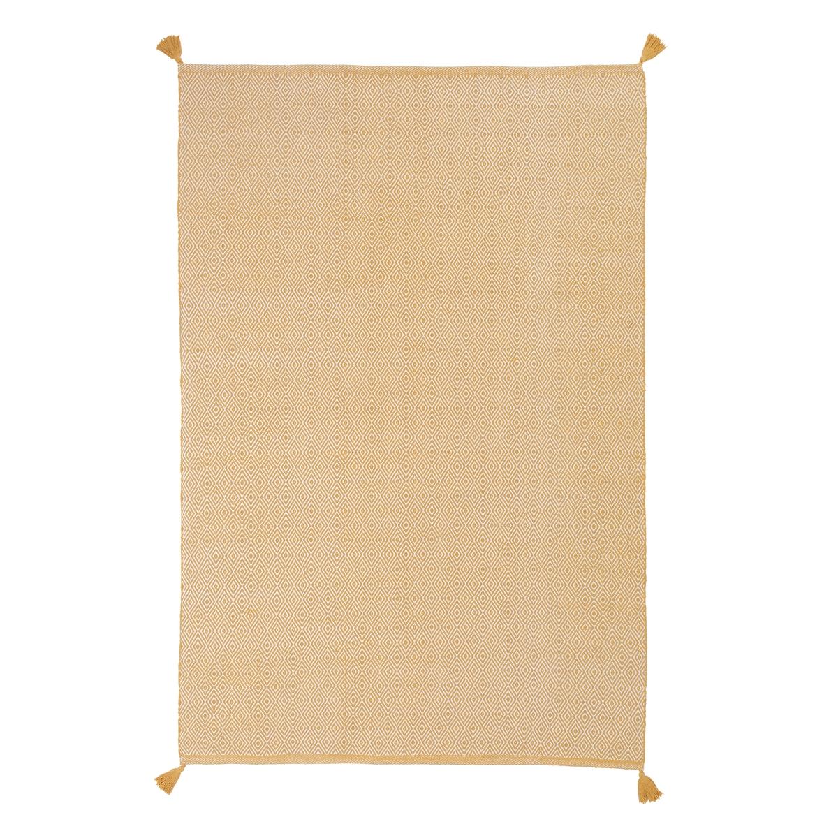 Ковер La Redoute Из хлопка с зигзагообразным узором OFICIO 200 x 290 см желтый ковер la redoute горизонтального плетения с рисунком цементная плитка iswik 120 x 170 см бежевый