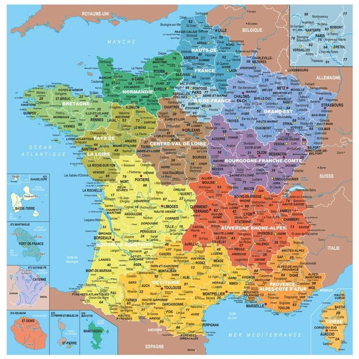 Puzzle en bois Fait Main 100 pièces : Carte de France des départements