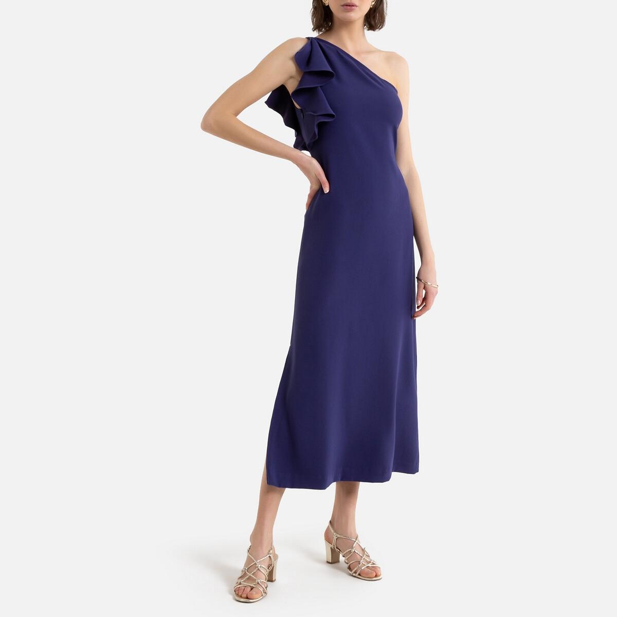 Длинное La Redoute Платье для торжества асимметричное с воланом 34 (FR) - 40 (RUS) фиолетовый