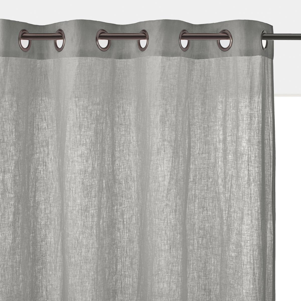 Штора LaRedoute Из стиранного льна с люверсами Onega 350 x 135 см серый