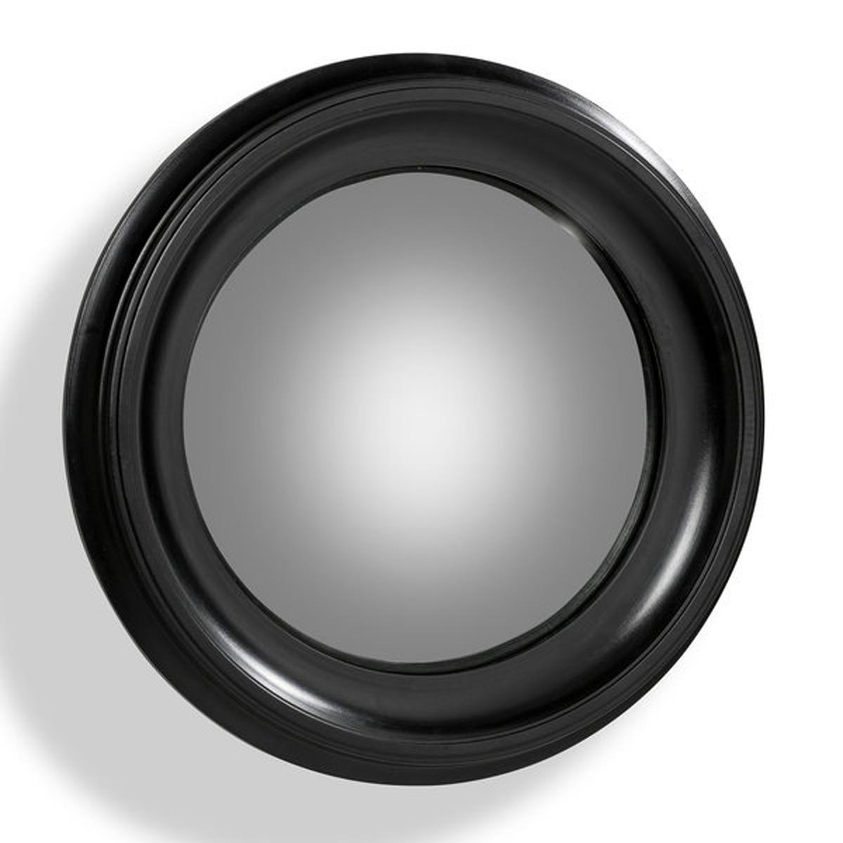 Зеркало Habel с черной рамой, диаметр 60 смЗеркало с выпуклым алюминиевым стеклом наделит Вас магической силойРама из МДФ, лакированная отделка черного цвета.Крепление на стену с помощью врезанного металлического люверса.Диаметр 60 см.<br><br>Цвет: черный<br>Размер: единый размер