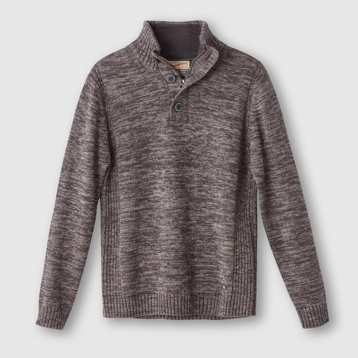 Пуловер с высоким воротником, 100% хлопкаСостав и описание:Материал: 100% хлопка.Марка: PETROL INDUSTRIES.<br><br>Цвет: бежевый,каштановый меланж<br>Размер: S.M