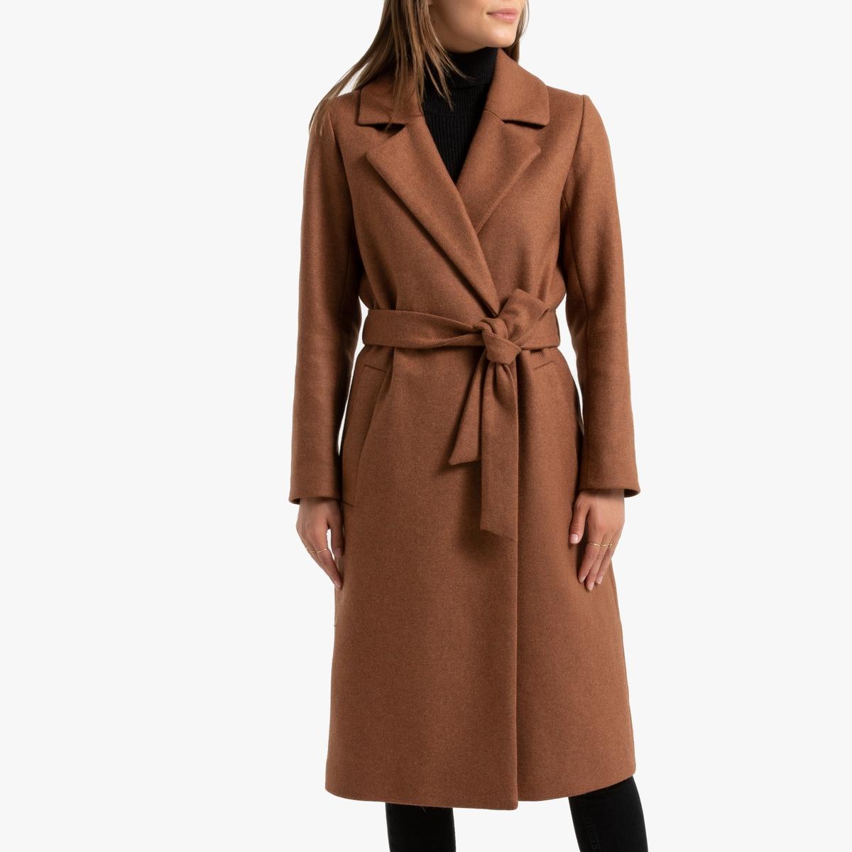 Пальто La Redoute Длинное из смесовой шерсти 36 (FR) - 42 (RUS) каштановый цена