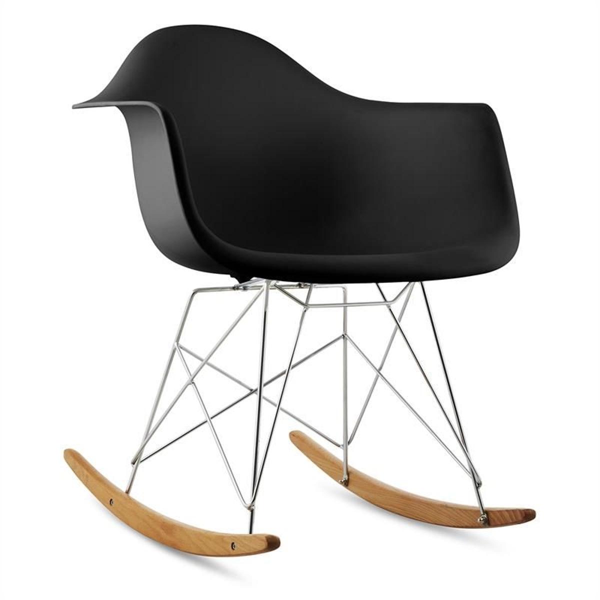 Aurel Chaise à Bascule Design RéTro Bois De Bouleau - Noir