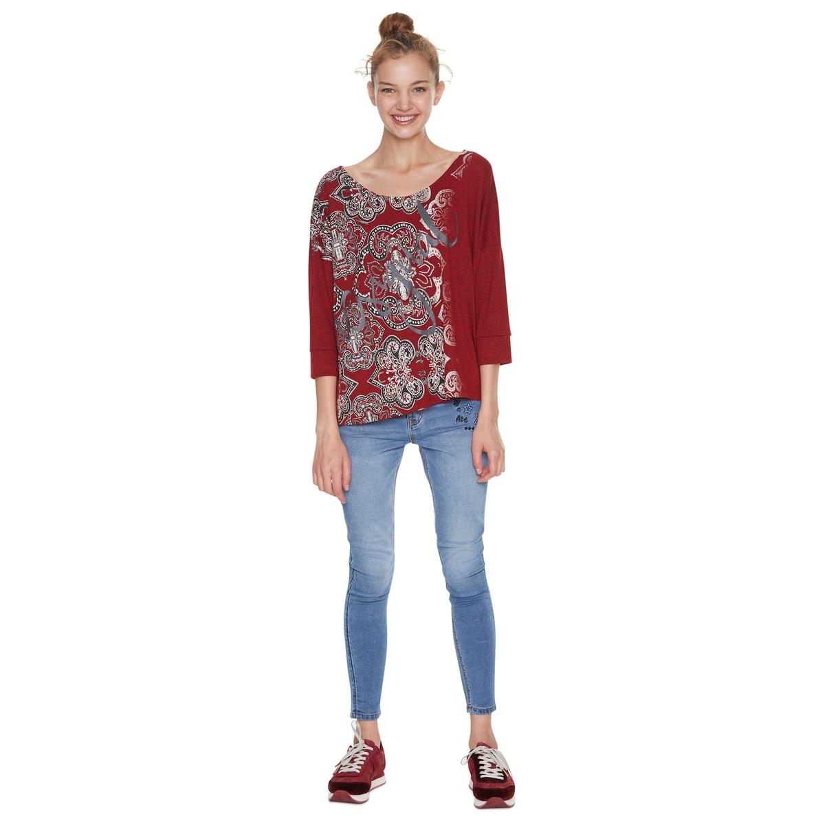 Camiseta con cuello redondo y manga 3/4, con estampado étnico