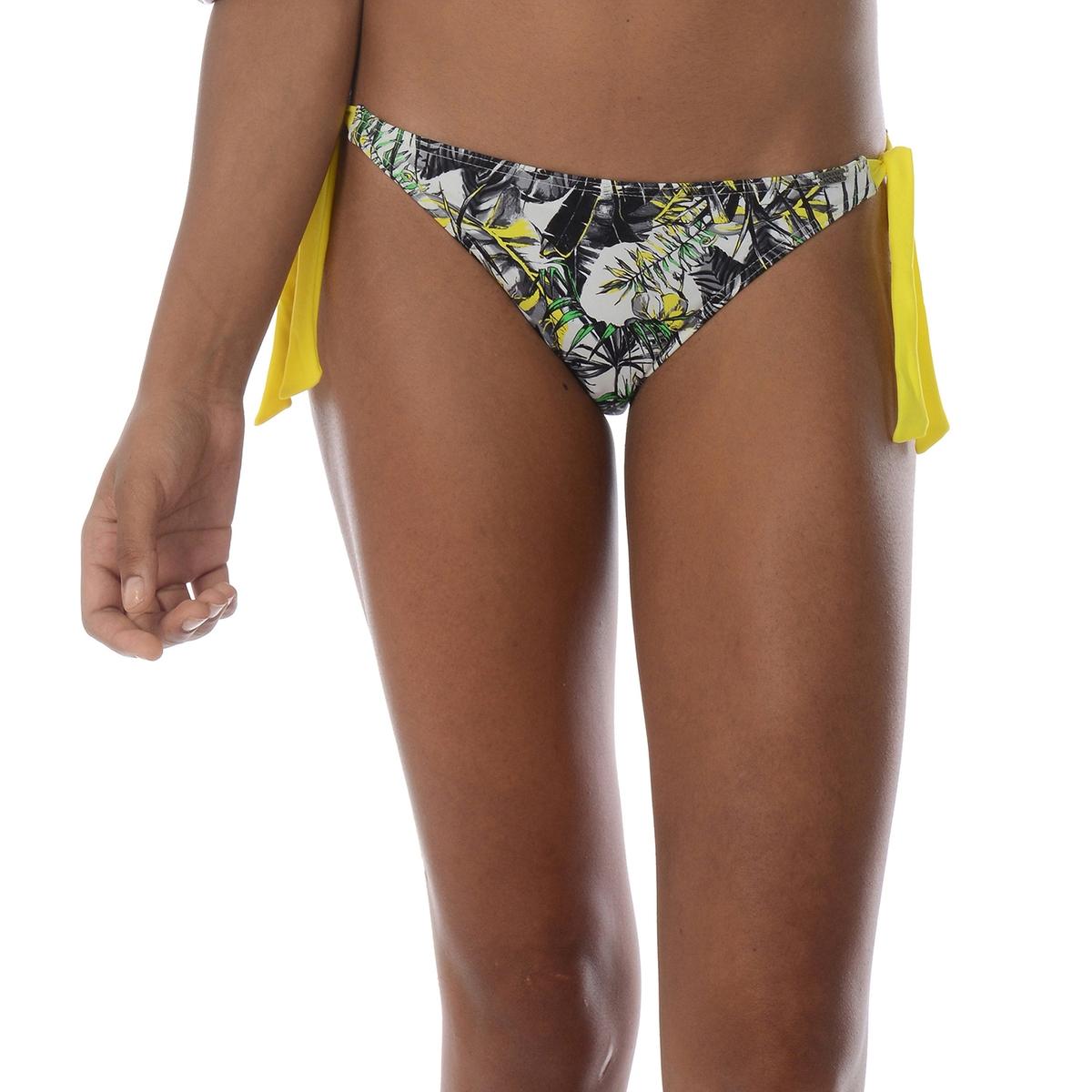 Низ от купальникаЭти плавки выгодно подчеркнут ваши формы . Завязки по бокам с обеих сторон для лучшей фиксации и для любого телосложения . Завязки желтого цвета  .20% эластана,  80% полиамида .<br><br>Цвет: черный/ желтый