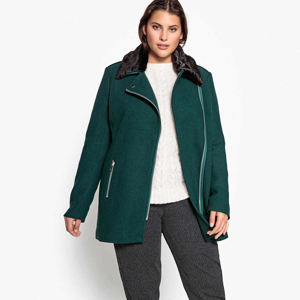 Пальто La Redoute Короткое с застежкой на молнию из шерстяного драпа 50 (FR) - 56 (RUS) зеленый