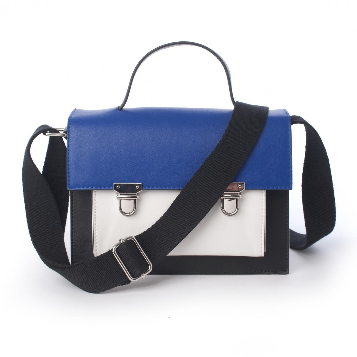 Сумка-портфель двухцветнаяСумка-портфель двухцветная Mademoiselle R.Модная и практичная сумка-портфель идеально подходит для офисной работы. Классическое и в то же время оригинальное сочетание цветов. Состав и описаниеМатериал: верх  из полиуретана.Подкладка из полиэстера.Марка: Mademoiselle R.Размеры: В.17 x Д.22 x Г.10 см.Застежка: металлический замок.2 отделения + 1 карман на молнии + 1 карман для мобильного телефона + 1 карман спереди.Плечевой ремень: регулируемый, не съемный.<br><br>Цвет: черный/ синий/ белый<br>Размер: единый размер