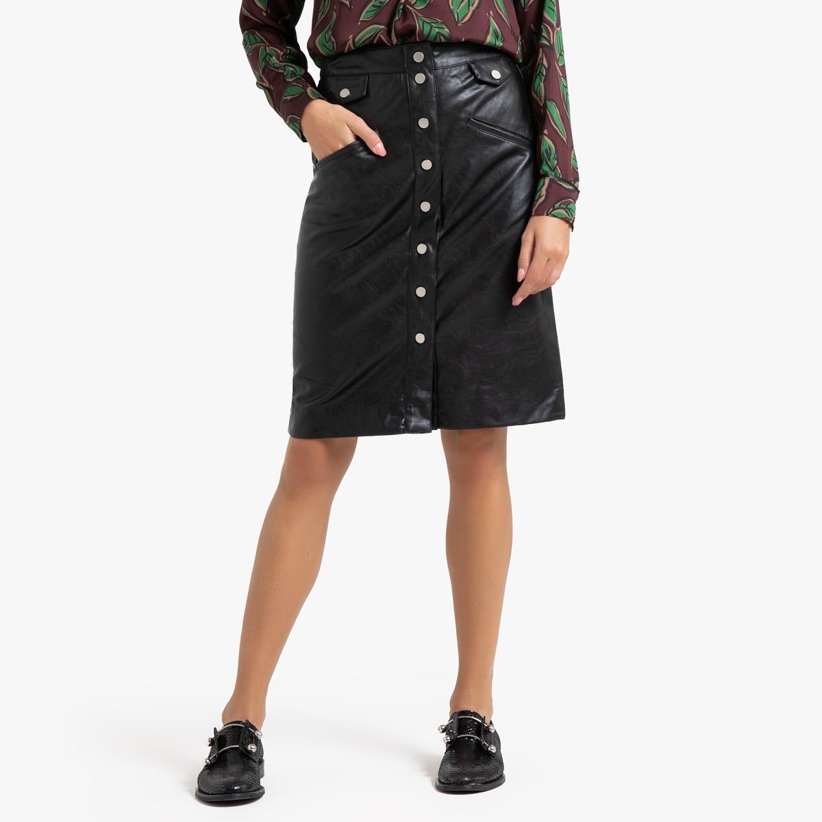 Юбка-карандаш La Redoute С застежкой на кнопки FIONA 3(L) черный полуприлегающая куртка с застежкой на кнопки escada полуприлегающая куртка с застежкой на кнопки