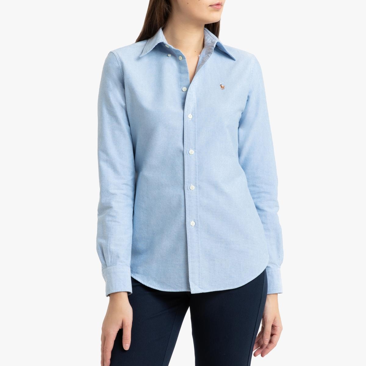 Рубашка LaRedoute Из ткани Oxford с длинными рукавами S синий