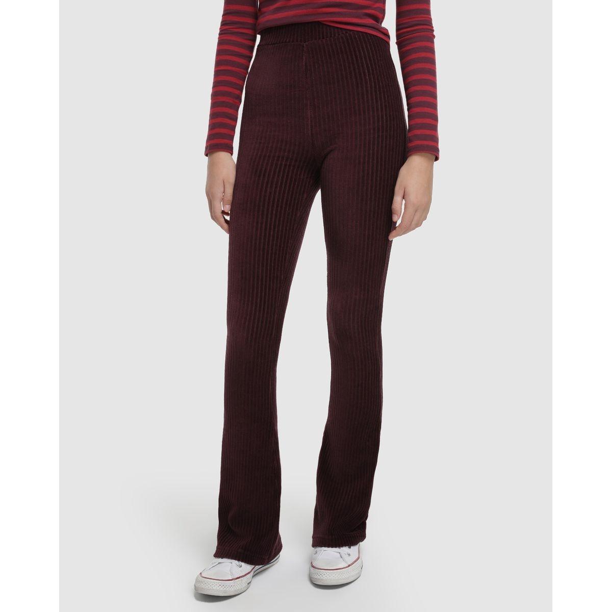 Pantalon évasé côtelé