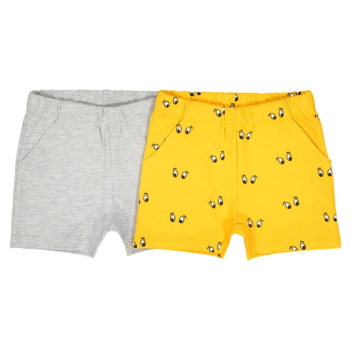Комплект из 2 шортов: однотонные шорты и шорты с рисунком - 1 мес. - 3 года шорты пляжные с рисунком кактус сбоку 1 мес 3 года