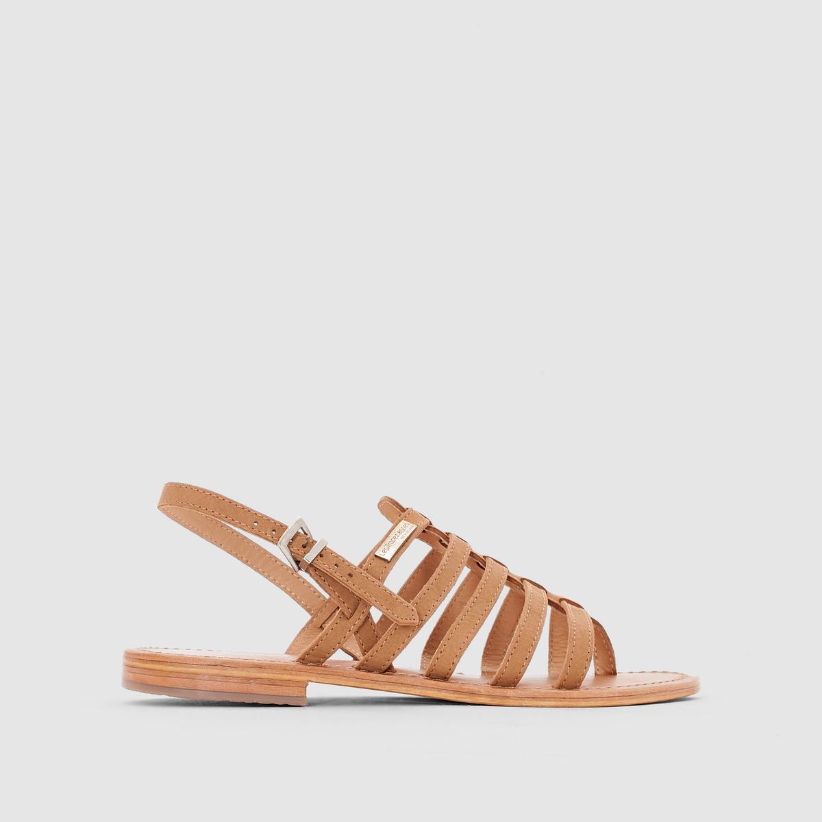 Босоножки кожаные на плоском каблуке Hook босоножки кожаные с бусинами на плоском каблуке