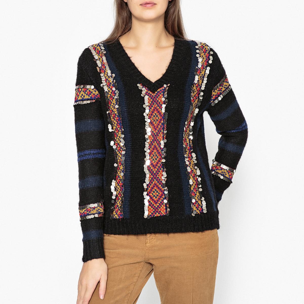 Пуловер из тонкого трикотажа с V-образным вырезом HANAN