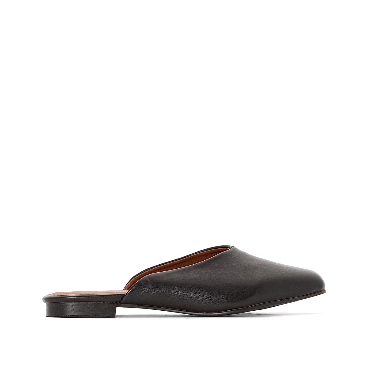 Туфли без задника синтетическиеДетали  •  Туфли без задника •  Застежка : без застежки • Квадратный мысок  •  Гладкая отделкаСостав и уход  •  Верх 100% синтетический материал •  Подкладка 100% синтетический материал<br><br>Цвет: черный<br>Размер: 38.37