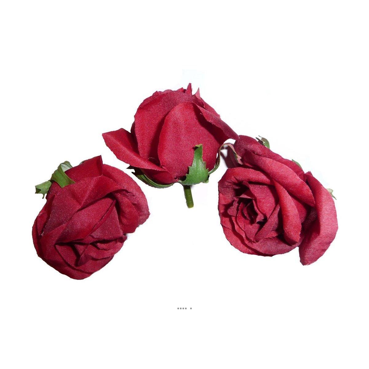 Tete de rose artificielle D 6 cm Rouge Amour superbe