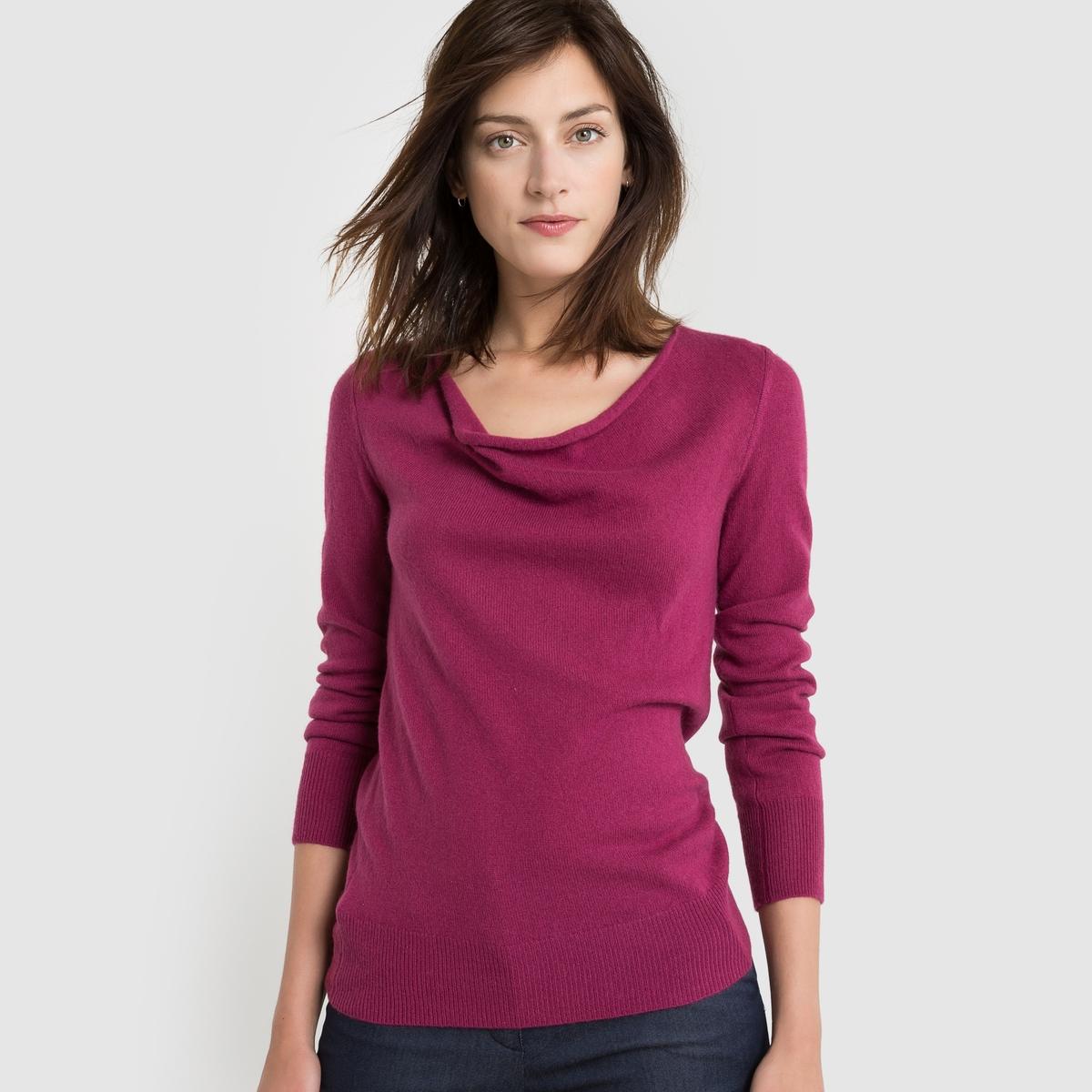 Пуловер с драпировкой на вырезе, 100% кашемира