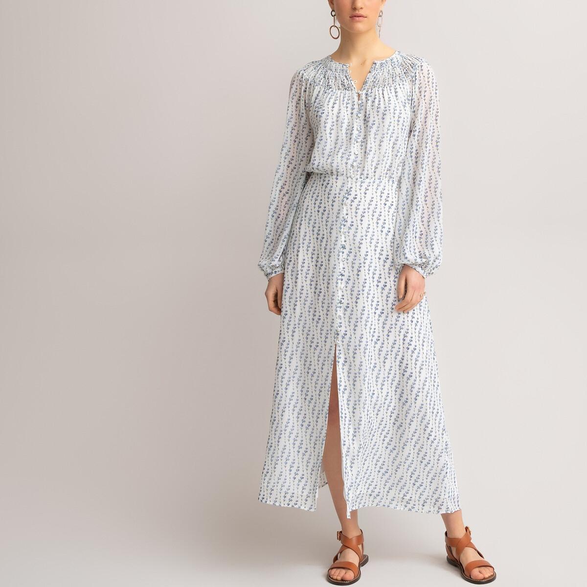 Платье-макси LaRedoute Длинное с длинными напускными рукавами 42 (FR) - 48 (RUS) белый