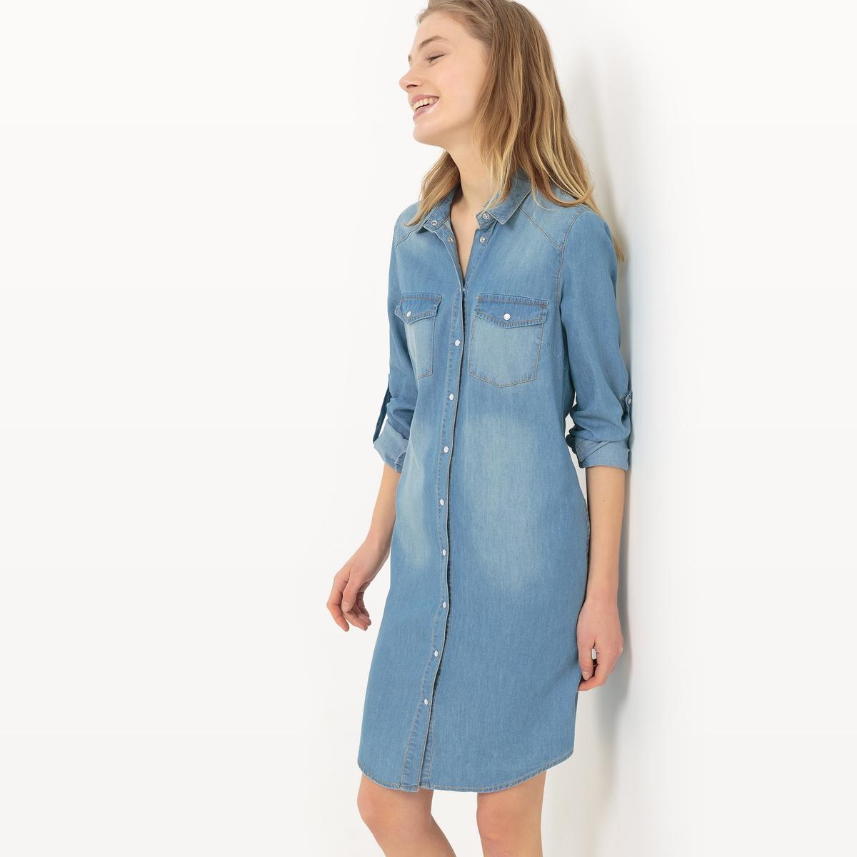 Платье из денимаМатериал : 35% вискозы, 65% хлопка  Длина рукава : длинные рукава  Форма воротника : воротник-поло, рубашечный Покрой платья : платье прямого покроя    Рисунок : однотонная модель   Длина платья : до колен<br><br>Цвет: синий потертый