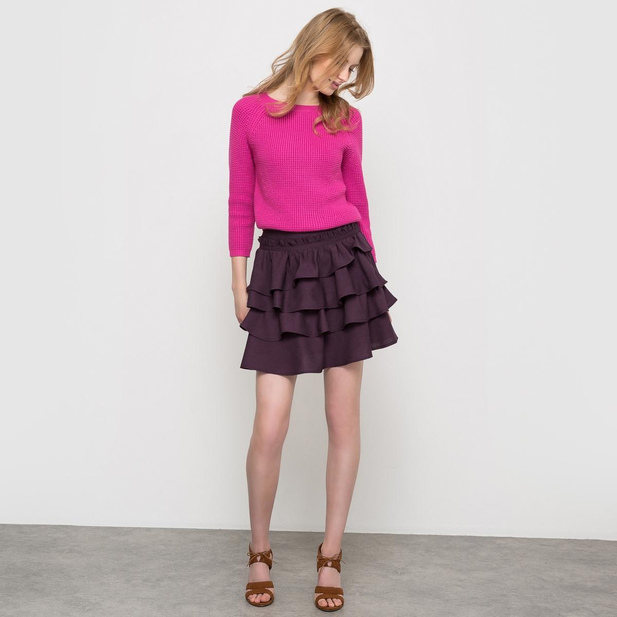 Юбка с воланамиНевероятно женственная, прекрасно сочетается с ярким пуловером или блузкой с рисунком !<br><br>Цвет: фиолетовый<br>Размер: 42 (FR) - 48 (RUS).46 (FR) - 52 (RUS).40 (FR) - 46 (RUS)