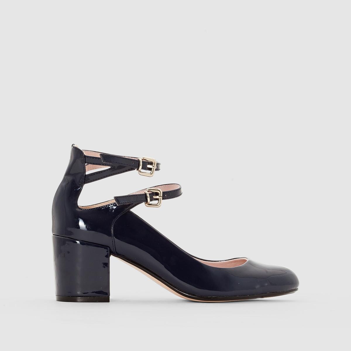 Балетки лакированные на каблукеВерх : синтетикаПодкладка : кожаСтелька : кожаПодошва : эластомерВысота каблука : 6 смФорма каблука : широкийМысок : закругленныйЗастежка : ремешкиМарка: mademoiselle R<br><br>Цвет: синий<br>Размер: 40