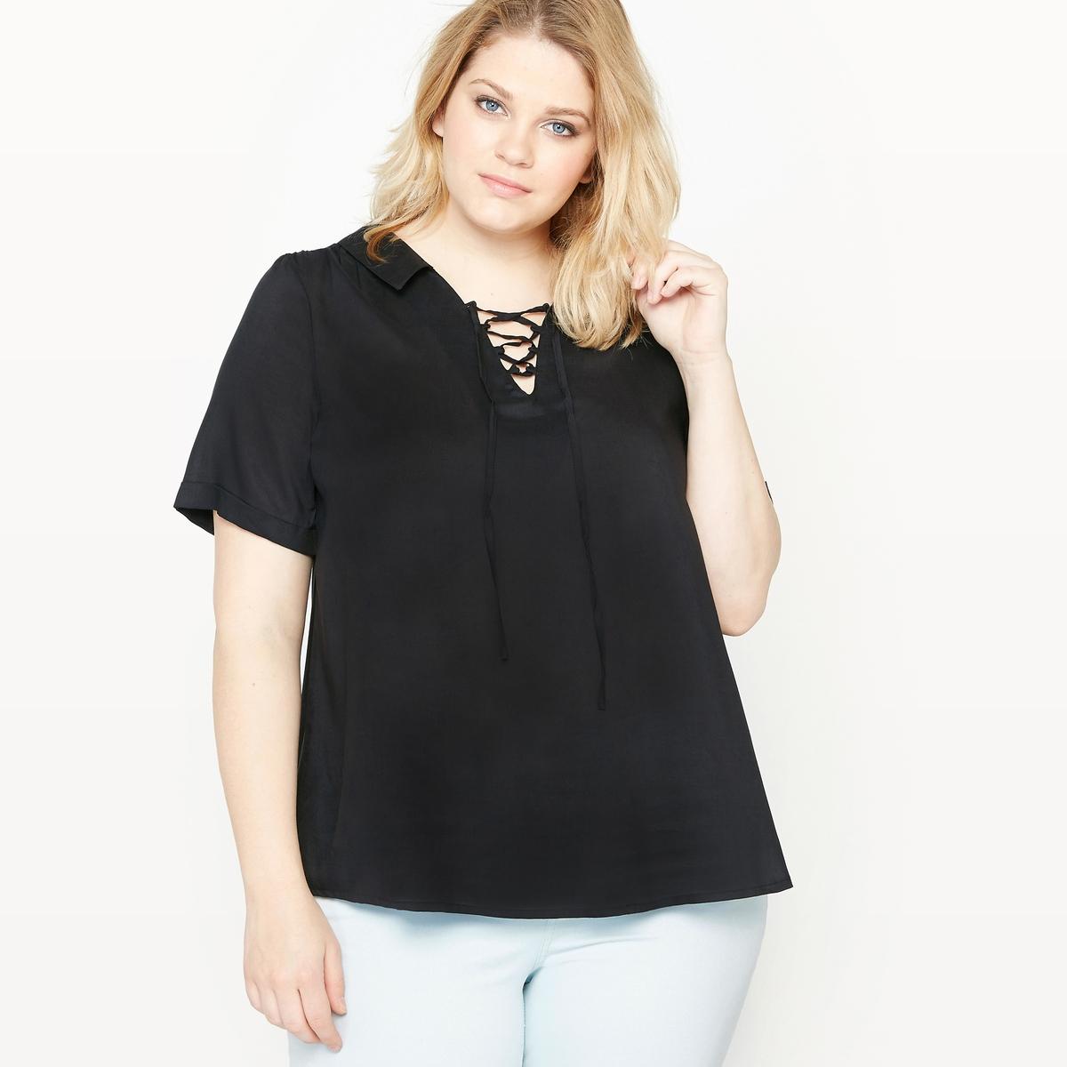 цены Блузка объемная с короткими рукавами